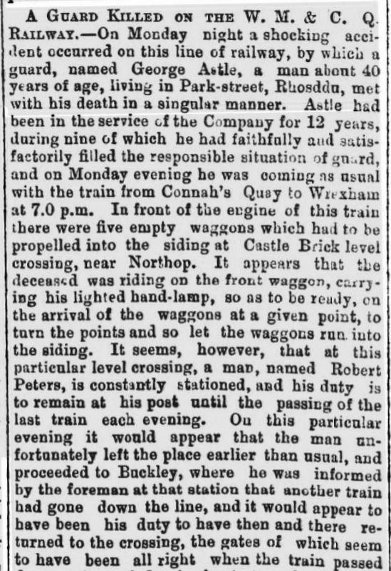 George ASTLE - A GUARD KILLED ON THE W. M. & C. Q. RAILWAY.