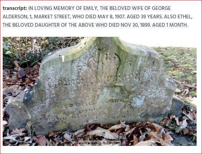 EMILY, THE BELOVED WIFE OF GEORGE ALDERSON, 1, MARKET STREET,