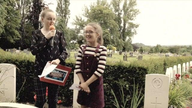 Victoria C.P School go back in time at Wrexham Cemetery.